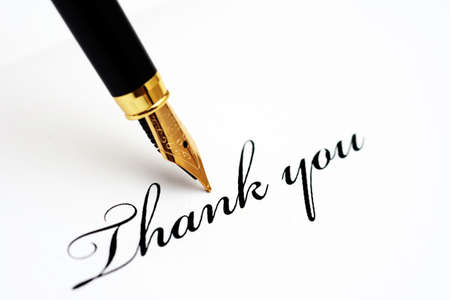 Fountain pen on thank you