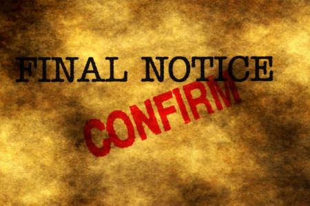final: Final notice confirm