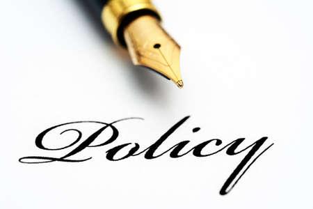 handbooks: Fountain pen on policy text