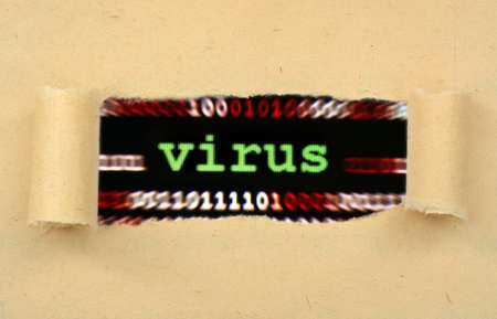 web scam: Virus concept on ripped paper