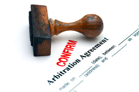 arbitration: Arbitration agreement confirm Stock Photo