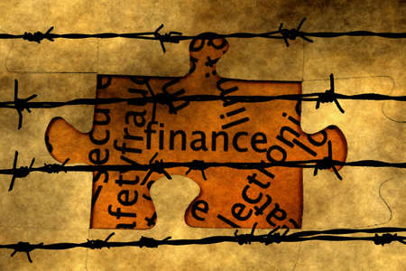 barbwire: Finance puzzle concept against barbwire