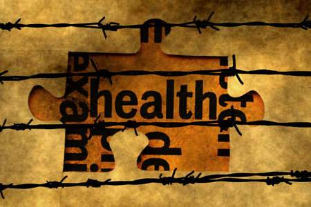barbwire: Health puzzle concept against barbwire