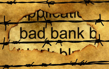 non cash: Bad banking concept against barbwire