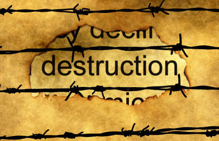 deconstruction: Deconstruction text on paper hole against barbwire Stock Photo
