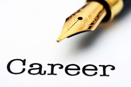recruit help: Fountain pen on career text