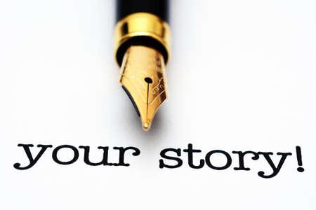 write: Write story Stock Photo