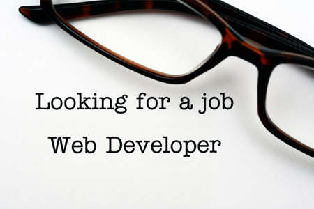 web developer: Looking for a job - web developer Stock Photo
