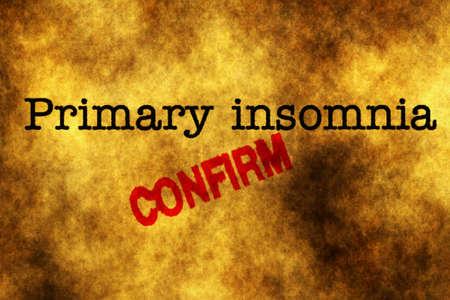 behavioral: Primary insomnia confirm grunge concept Stock Photo