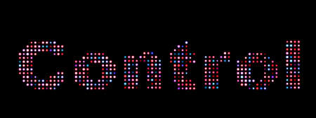 controling: Control led text over black