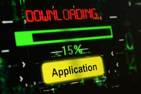 satined: Downloading Application Stock Photo