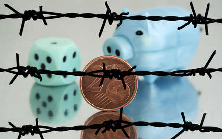 barbwire: Piggy bank and 2 cents barbwire concept