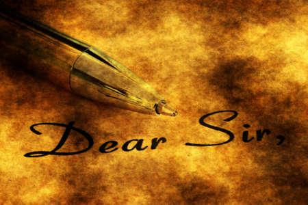 dear: Fountain pen on dear sir text Stock Photo