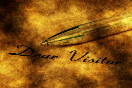 dear: Fountain pen on dear visitor text