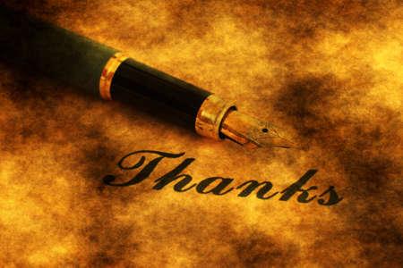 e ink: Founain pen on thank you text Stock Photo