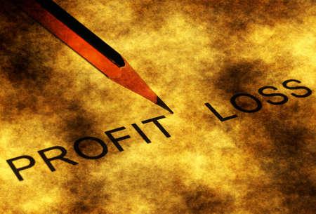 profit or loss: Ganancia o pérdida del grunge concepto