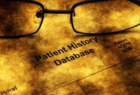 hmo: Patient history database grunge concept