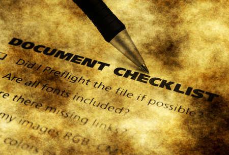 enumerate: Document checklist grunge concept