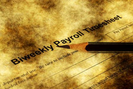 Biweekly payroll timesheet grunge concept
