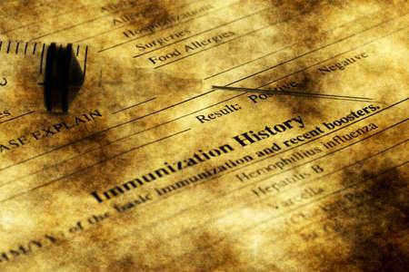 immunization: Immunization history form grunge concept