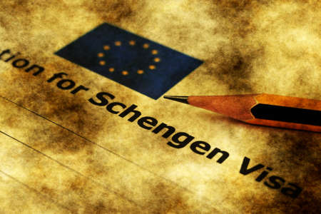 schengen: Application for Schengen visa grunge concept