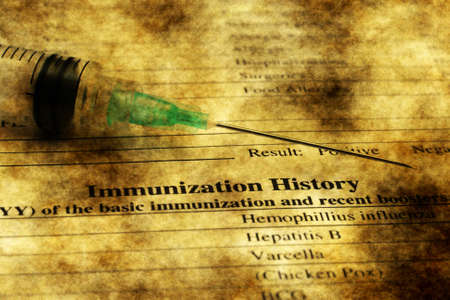 vaccinate: Immunization history form grunge concept