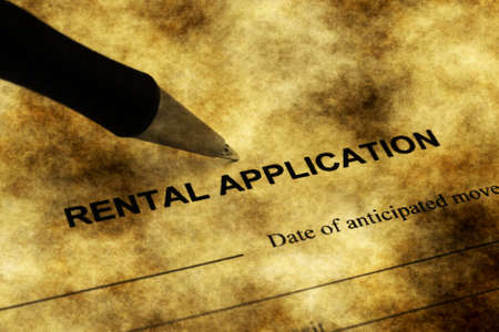 rental: Rental application grunge concept Stock Photo