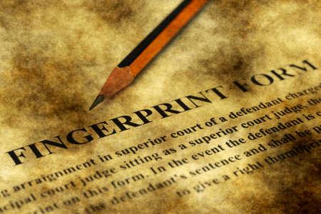 paralegal: Fingerprint form grunge concept