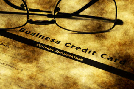 creditworthiness: Business credit card application grunge concept