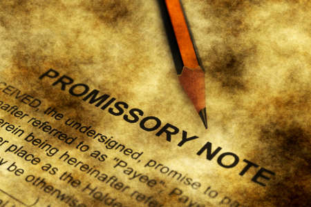 Promissory note grunge concept Stock Photo