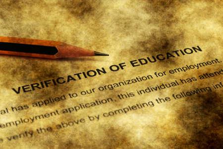verification: Verification of education grunge concept