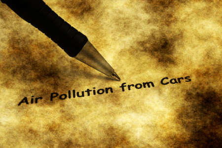 tailpipe: Air pollution from cars grunge concept Stock Photo