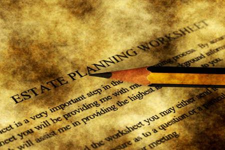 estate: Estate planning worksheet grunge concept
