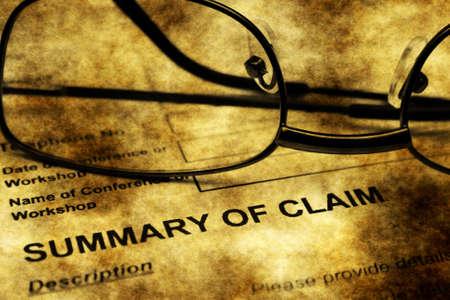 summary: Summary of claim grunge concept