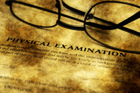 patient's history: Physical examination grunge form Stock Photo