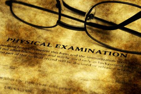 physical exam: Physical examination grunge form Stock Photo