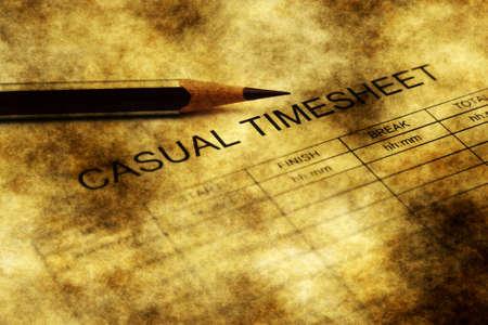 timekeeping: Casual timesheet grunge concept