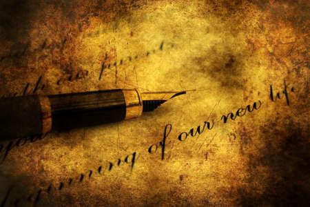 fails: Fountain pen on love letter Stock Photo
