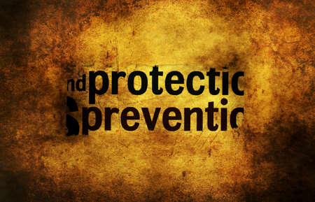 protect: Protect prevent concept grunge concept Stock Photo