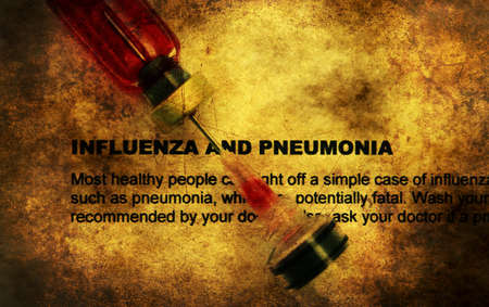 h1n1 vaccinations: Influenza and pneumonia grunge concept