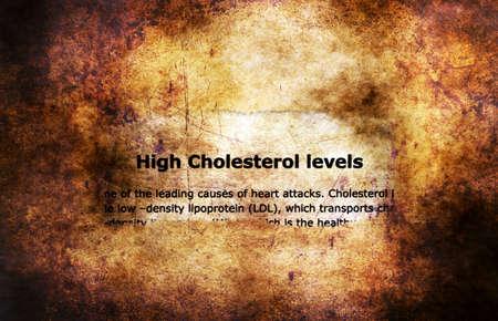 angina: El colesterol alto concepto de los niveles del grunge
