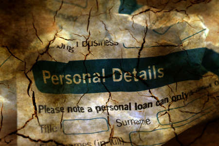 personal identification number: Bank application personal details Stock Photo