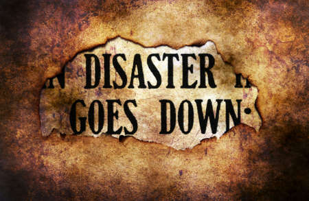 paper hole: Disaster text on paper hole grunge concept Stock Photo