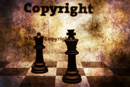 plagiarism: Copyright and chess grunge concept