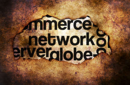 paper hole: Network word cloud on paper hole grunge concept