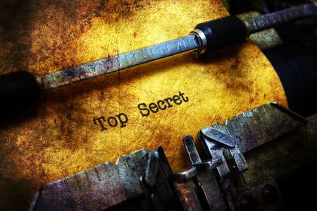 Top secret text on typewroter