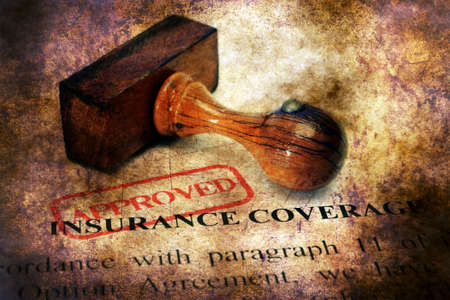 hmo: Stamp approved  on Insurance coverage concept