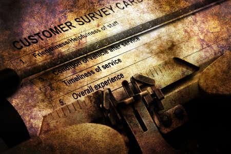 tickbox: Customer survey form on vintage typewriter