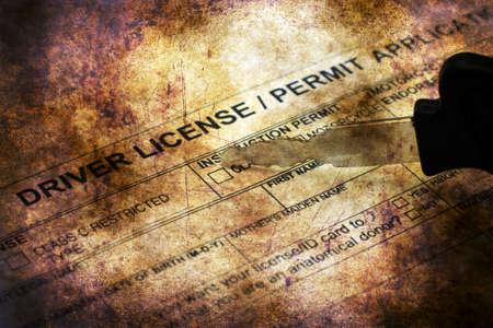 driver license: Driver license application grunge concept
