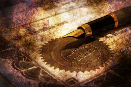indent: Fountain pen on corporate seal grunge concept